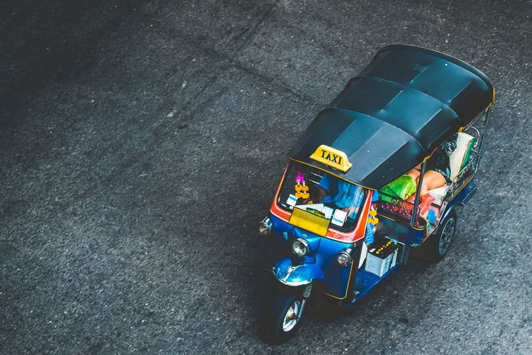 High angle view of taxi on city street