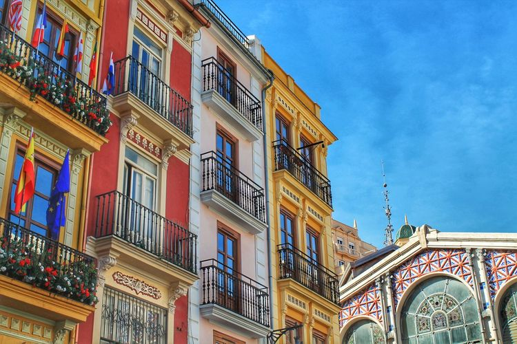 Architecture Architecture Balcony Balcony View Building Exterior Built Structure Catalan City City Center Day Europe Flag House Houses And Windows Low Angle View Market Market Hall Medieval Architecture Multi Colored No People Old Town Sky SPAIN València