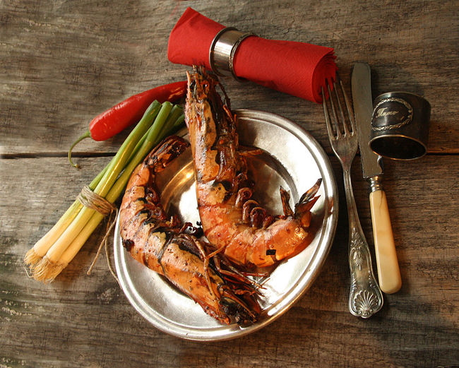 Barbecue Black Tiger Childhood Fish Food No People Prawns Red Silver  Silver Dish Spring Onion