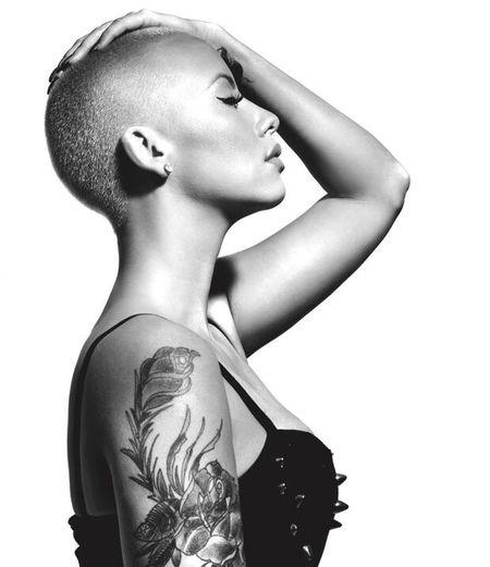 Mrs. Rose Beauty Model Wiz Khalifa Amber Rose Rose Blackandwhite Black Tattoo Shorthair