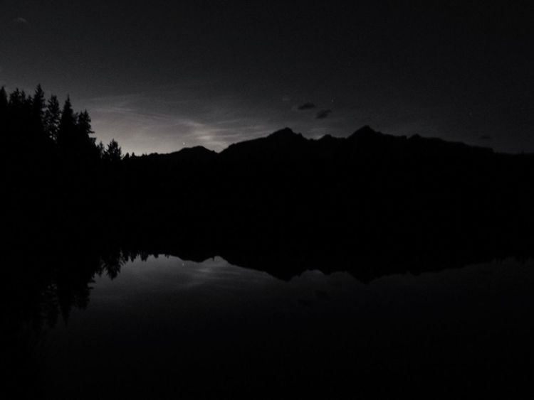 Alberta, Canada Beauty In Nature Black And White Canada Day Landscape Mountain Nature Nightphotography No People Outdoors Scenics Silhouette Sky Tranquil Scene Tranquility Tree Water