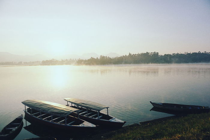 Transportation Water Mode Of Transport Lake Rowboat Tranquility Nature No People Scenics Beauty In Nature Outdoors Wood - Material Sky The Week On EyeEm Paint The Town Yellow Eyeem Photo Of The Week EyeEm Photo Of The Day Sunrise Been There. Done That. Tranquility Bandung INDONESIA