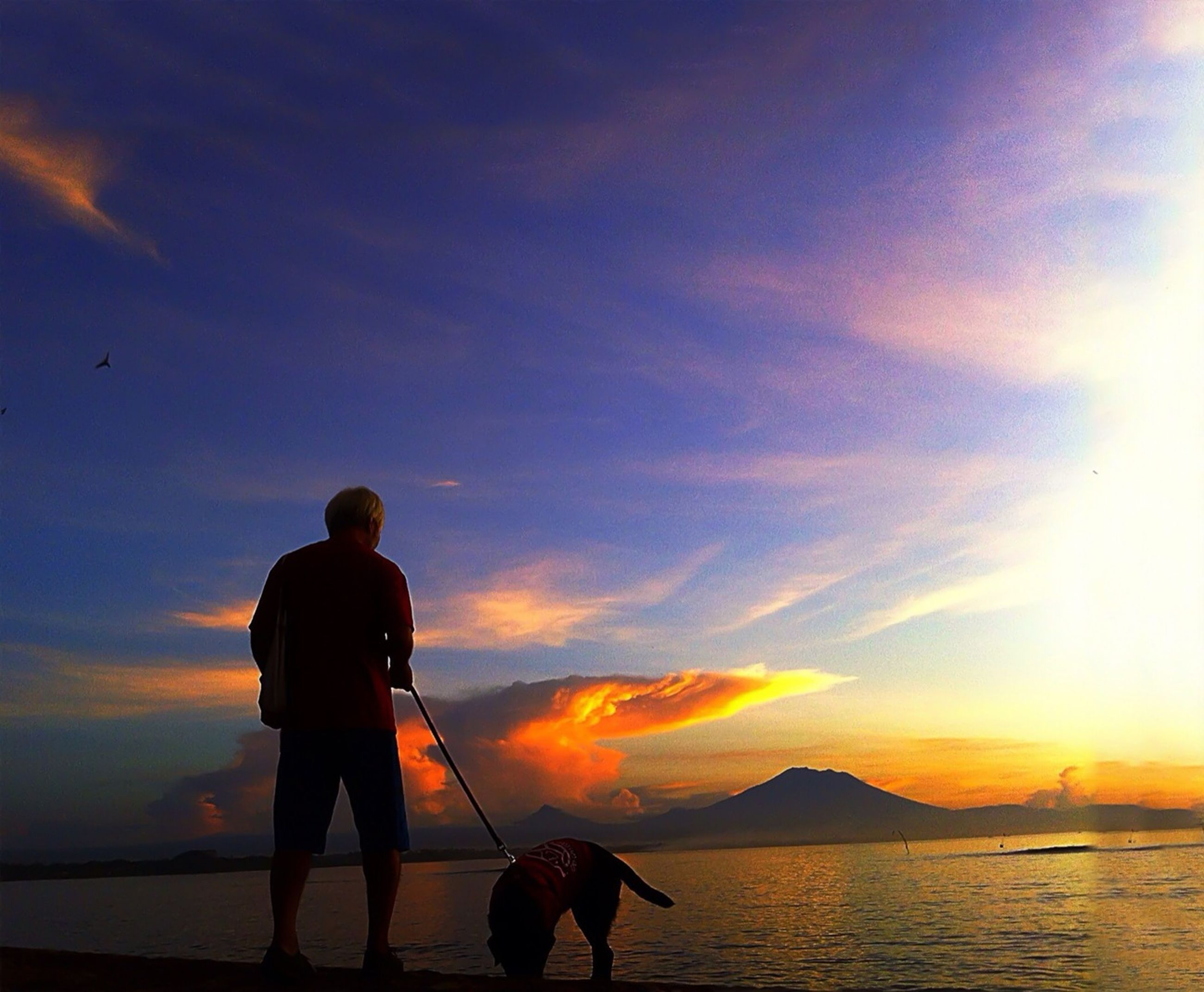 sunset, sea, silhouette, sky, water, horizon over water, lifestyles, scenics, beauty in nature, leisure activity, orange color, sun, beach, men, standing, tranquil scene, tranquility, idyllic