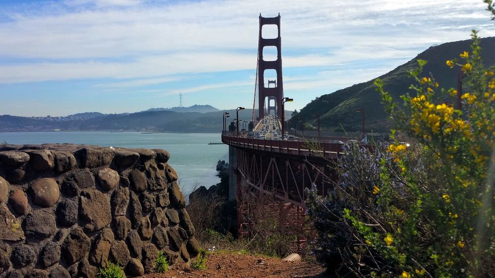 Approaching an icon. Icon Golden Gate Bridge Framed Yellow Fliwers Stone Wall Bay Water Zen Distance Depth Awe Inspiring Elegant Copy Space Rewilding Red Road Hwy 101 Rust Day Water Outdoors Sky Cloud - Sky No People Tree Summer Road Tripping