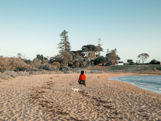 doggo One Person Sky Outdoors Clear Sky Sand Real People Nature Landscape Beauty In Nature Day Women Around The World Back View Dog Walking A Dog Beach Beach Photography Australia Contemplative Dreamlike Long Goodbye The Great Outdoors - 2017 EyeEm Awards