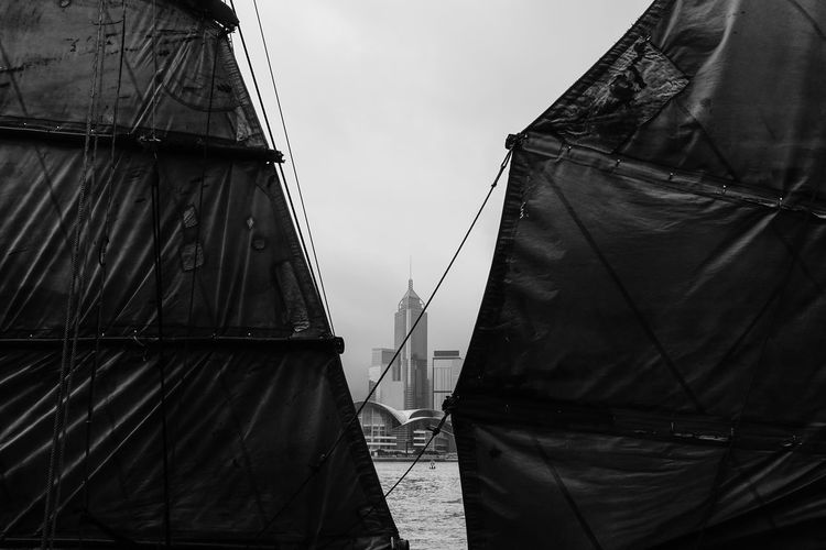 Landscape_Collection Abstract Architecture Blackandwhite Building Exterior Built Structure Canvas Clothing Connection Day Nature Nautical Vessel No People Outdoors Pole Rear View Sailboat Sky Textile Transportation
