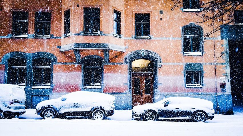 Stockholm Window Street Mode Of Transport Building Exterior Outdoors Stationary Old-fashioned Architecture No People City Day Snowflake