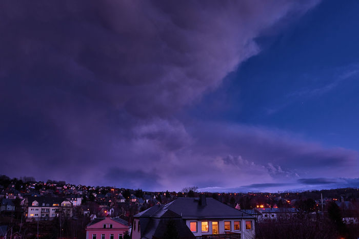 Abendhimmel Extrem Erzgebirge Architecture Beauty In Nature Building Building Exterior Built Structure City Cloud - Sky Dusk House Illuminated Nature Night No People Outdoors Power In Nature Purple Residential District Sachsen Scenics - Nature Schneeberg Sky Sony A6000 Storm Storm Cloud