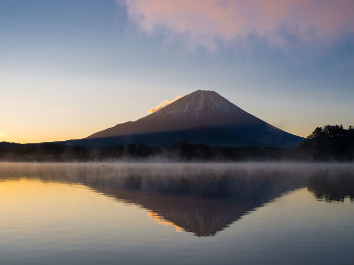 Scenic view of lake and mt fuji against sky during sunset. japan