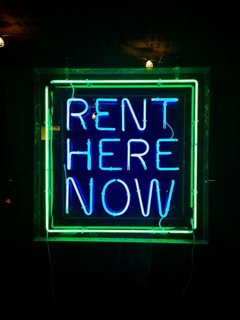 Neon Illuminated Glowing Neon Lights Text Green Color Blue Communication RENT For Rent Demendozaphotography iphone Low Angle View No People Night Indoors  Close-up IPhone New York City Streets