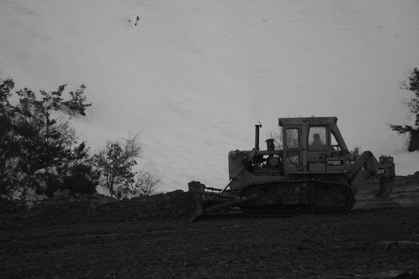 Blackandwhite Working Hard Buldozer Lonely Mining Monochrome