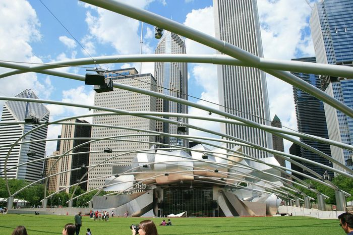 Millennium Park Architecture Built Structure Large Group Of People People Cloud - Sky City Travel Destinations Sky Outdoors Millennium Park building exterior Real People Chicago Skyline Day