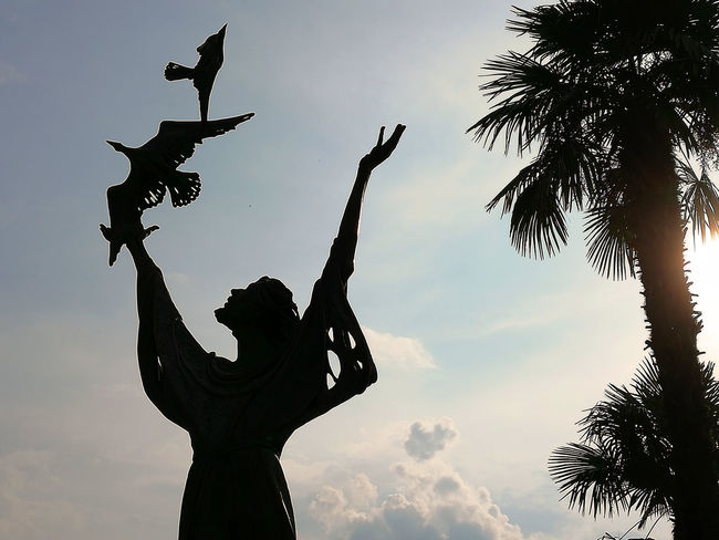 Saint Francis preaches to the birds. A sculpture created by Alfiero Nena. Alfiero Nena Faith Heiliger Franziskus Saint Francis Of Assisi Arms Raised Art And Craft Creativity Human Representation Light And Shadow Low Angle View Palm Tree Representation Saints San Francesco D'Assisi Sculpture Silhouette Sky Statue Tree