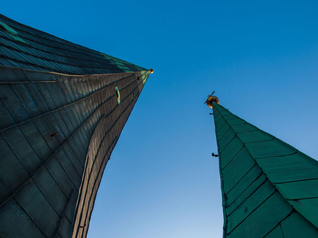 Abstract Architecture Building Exterior Built Structure Church Towers Clear Sky Day Detail Of Bu Low Angle View No People Outdoors Sky