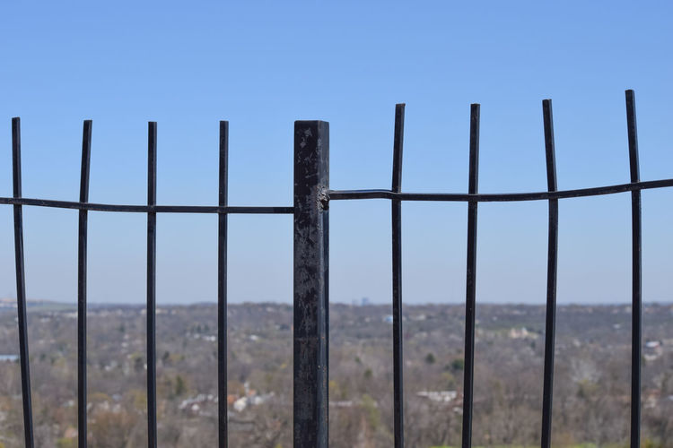 Black Iron Blue Sky Clear Blue Sky High Angle View Horizon Iron Fence Nature No Filter Trees