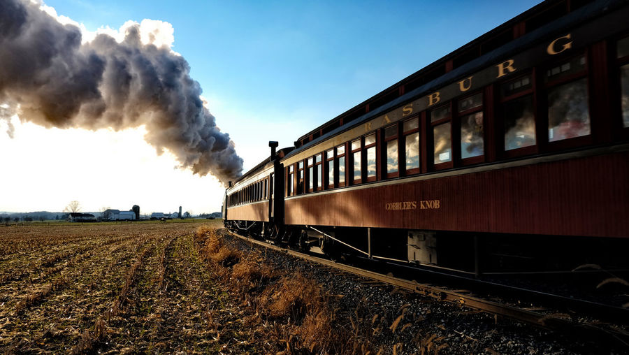 Train old Air Pollution Day Environment Locomotive Mode Of Transportation Motion Nature No People Old Train Outdoors Pollution Public Transportation Rail Transportation Railroad Track Sky Smoke - Physical Structure Steam Train Track Train Train - Vehicle Transportation