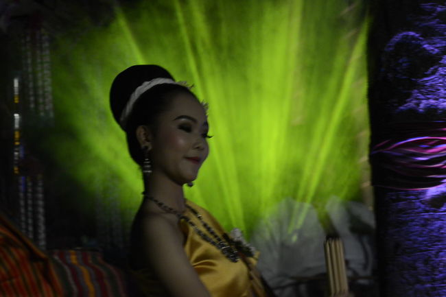 Dance Thai Beautiful Woman Costume Dancer Indoors  Lifestyles Light And Shadow Night One Person One Young Woman Only People Performance Real People Side View Standing Thaland Young Adult Young Women