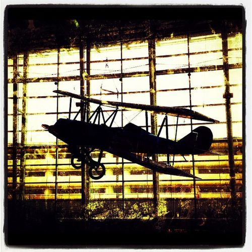 Even Planes Hang Out. #seattle #seatac Display Bw Hanging Washington Aviation WA IPhoneography Planeporn Airplane Seatac Vintage Wright Museum Wright_brothers Silhouette Travel Airport Plane Flight Fly Seattle Sepia