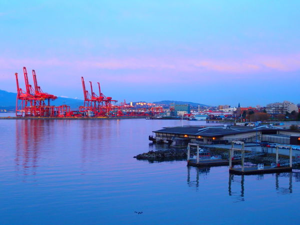Architecture Building Exterior Built Structure Cargo Container Commercial Dock Crane - Construction Machinery Day Freight Transportation Harbor Industry Nature Nautical Vessel No People Outdoors Pink Blue Sky Reflection Sea Shipping  Shipyard Sky Transportation Water Waterfront