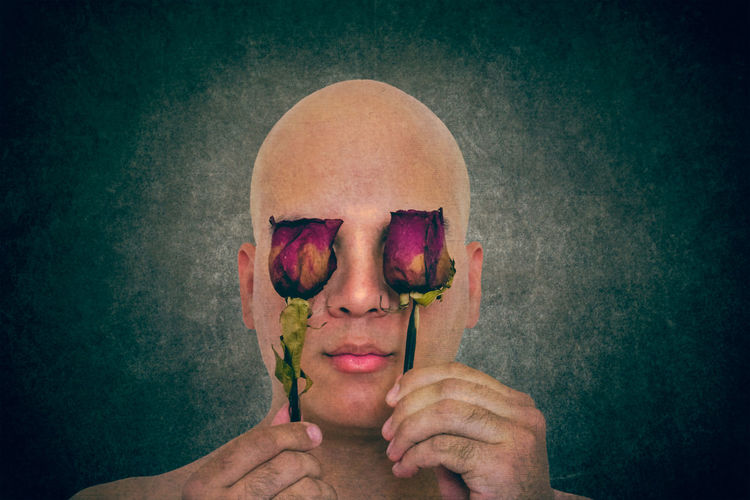 Withered perception Fine Art Photography Fine Art Portrait Fine Art Portrait Man Portrait Bald Man Roses Eyes Covered Eyes Conceptual Photography  Art Only Women One Woman Only Adults Only People Human Body Part Headshot Beauty Close-up Human Face