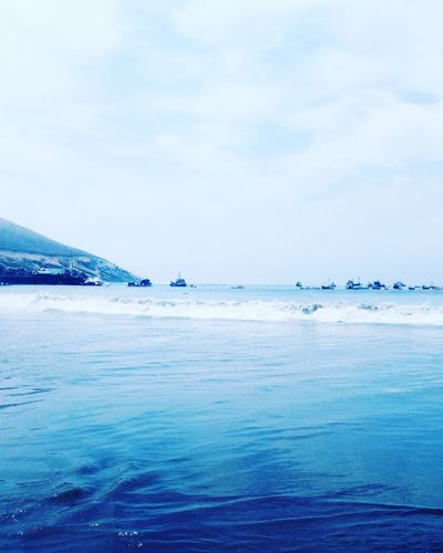Blue #myfavorite #color #love #ocean Sea Beach Water Nature Blue Scenics Beauty In Nature Horizon Over Water Sky Outdoors Tranquility Tranquil Scene No People Cloud - Sky Travel Destinations Day Sand Nautical Vessel