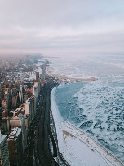 High angle view of coastline in winter