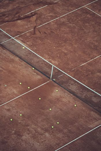 High angle view of tennis ball on playing field