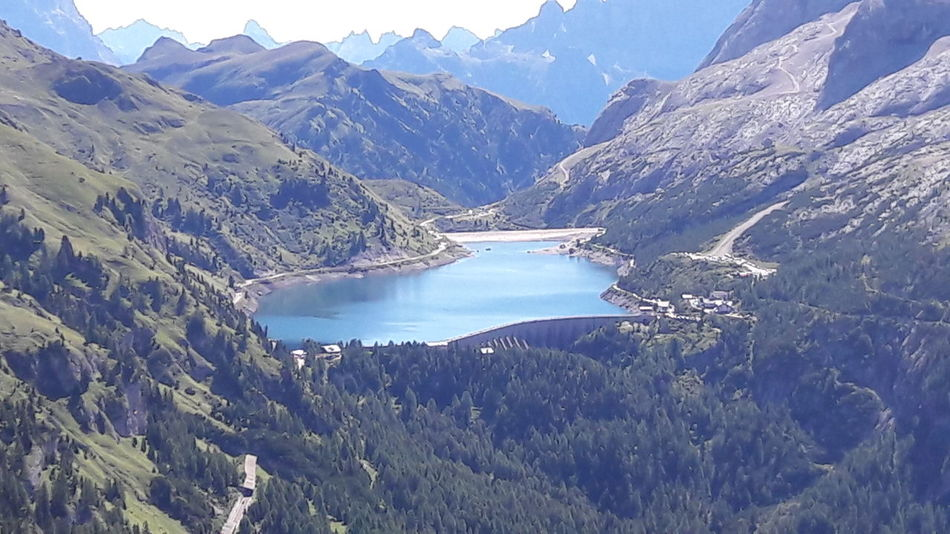 Dolomites Beauty In Nature Day Environment High Angle View Idyllic Lake Landscape Mountain Mountain Range Nature No People Non-urban Scene Outdoors Remote Scenics - Nature Sky Tranquil Scene Tranquility Tree Water