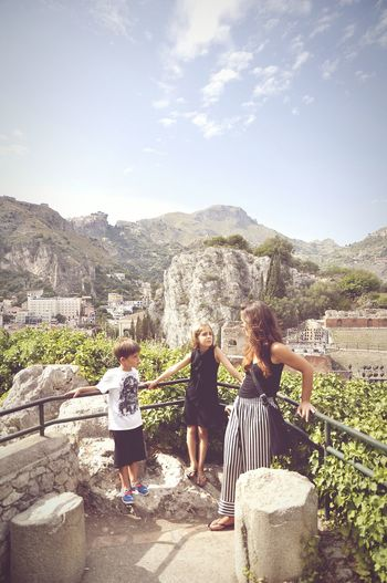 Taormina Sicily Teatro Young Women Friendship Togetherness Full Length Bonding Adventure Sky Casual Clothing Music Concert Getting Away From It All