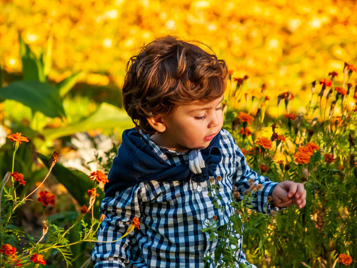 Family Child Childhood Children Real People Lifestyles Autumn Autumn colors Brother Curiosity Environment Park Fall Baby Golden Hour Babe Babyhood Babyboy Positive Emotion Smiling Good Vibes Garden Autumn Leaves Flower Plant One Person Leisure Activity Men Males  Boys Nature Casual Clothing Flowering Plant Field Land Growth Looking Innocence Outdoors Flower Head
