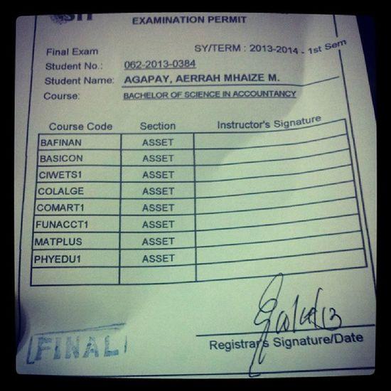 Finally! :))) Exam Permit Finals Happy