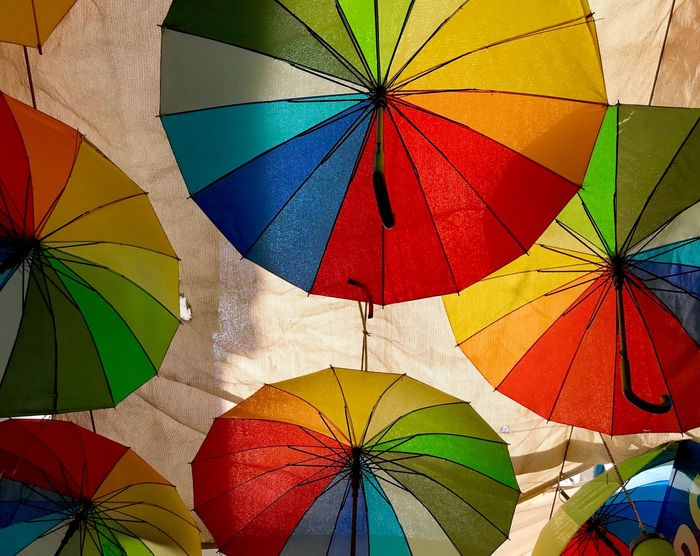 Colourful Multi Colored Umbrella Protection Full Frame Backgrounds Pattern Low Angle View