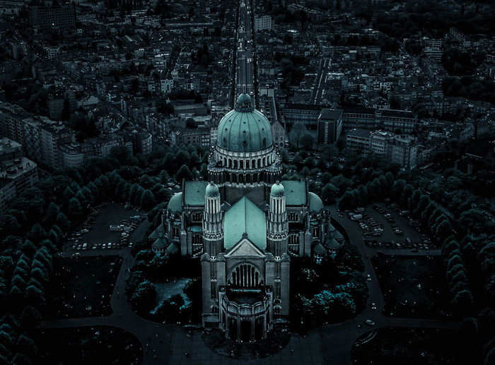 DARK KOEKELBERG. Basilica Brussels Bruxelles Dark Aerial View Architecture Belief Building Building Exterior Built Structure City Cityscape Dome High Angle View Nature No People Outdoors Pattern Place Of Worship Religion Tourism Travel Travel Destinations