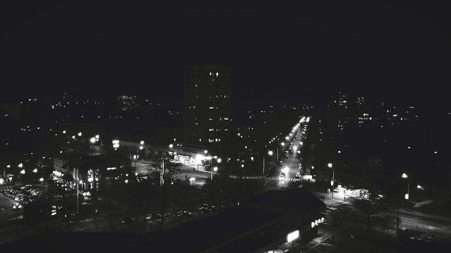 Bright Lights Big City City At Night City Landscape Black & White