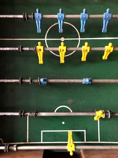 Table soccer Brazil's Color The Week on EyeEm Table Soccer Soccer No People Yellow Multi Colored In A Row Day Creativity Communication