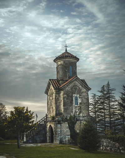 Martvili Monastery Architecture Belief Building Building Exterior Built Structure Cloud - Sky History Nature No People Old Outdoors Place Of Worship Plant Religion Sky Spire  Spirituality The Past Tree