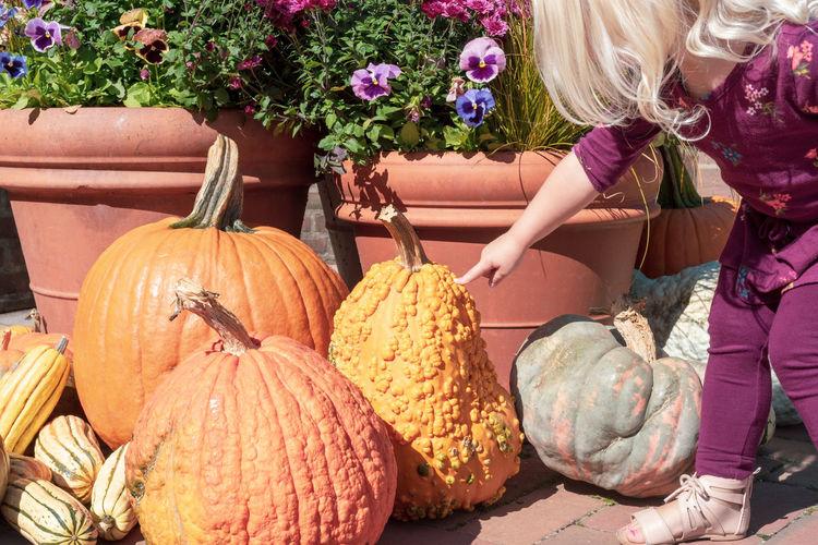 Cute girl standing by pumpkin at market stall