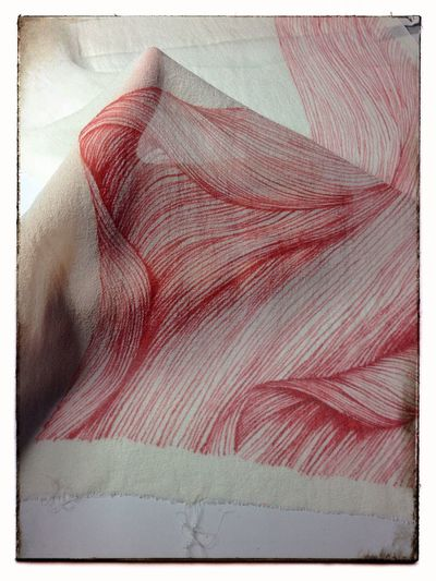 Abstract spider lily petal, dye on silk, in progress. Art Drawing Flowers