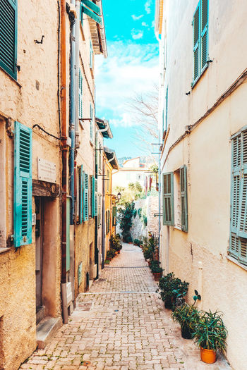 Alley Alleyway Architecture Blinds Building Exterior Buildings & Sky Built Structure City Day France In A Row Narrow Narrow Street No People Outdoors Pavement Sky Stone Material Stone Wall The Way Forward The Way Foward