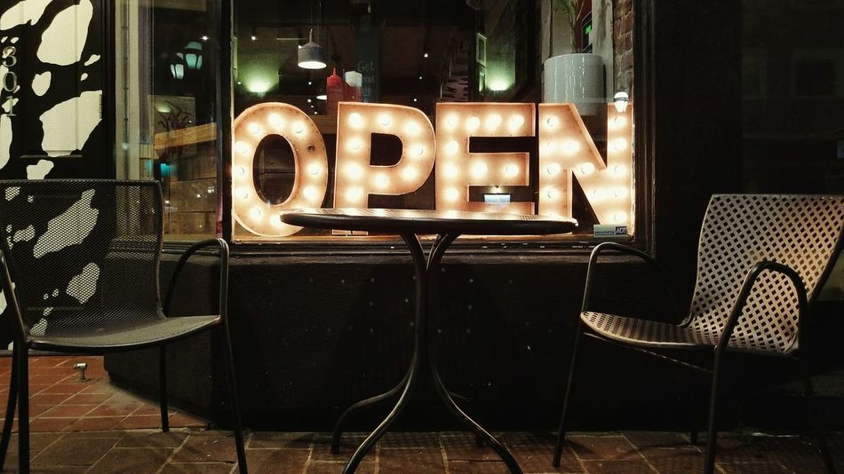 Open Seating. No People Illuminated WindowOutdoors Night Table & Chairs Sidewalk View Restaurant Sign Eyeemphoto