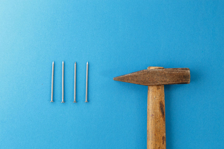 Nails Arrangement Blue Blue Background Close-up Colored Background Copy Space Directly Above Food Food And Drink Group Of Objects Indoors  Matchstick Medium Group Of Objects Metal No People Side By Side Still Life Studio Shot Table Wood - Material