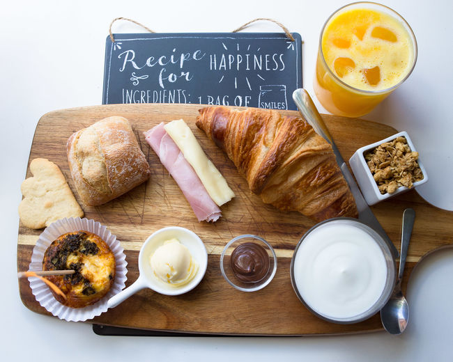 Breakfast Brunch Close-up Croissant Cutting Board Day Drink Food Food And Drink Freshness Healthy Eating High Angle View Indoors  No People Plate Ready-to-eat Table