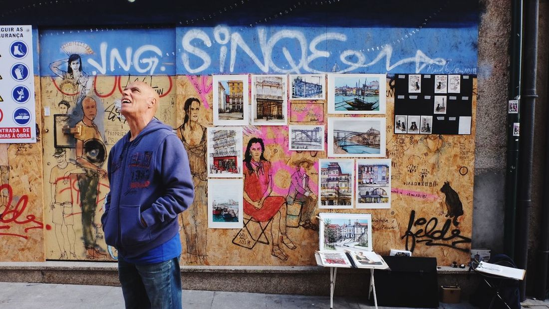 Curious man Impressive Portugal Porto Text Communication Wall - Building Feature Graffiti Representation Poster Standing Men Retail  Lifestyles Art And Craft
