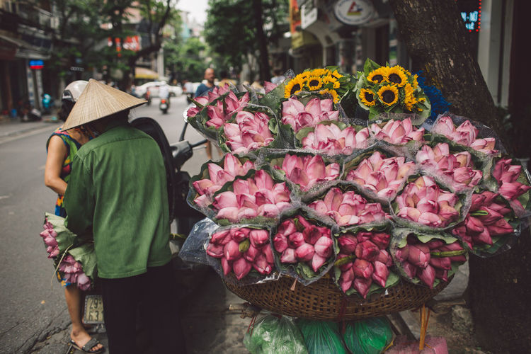Close-Up Of Pink Flowers In Market For Sale