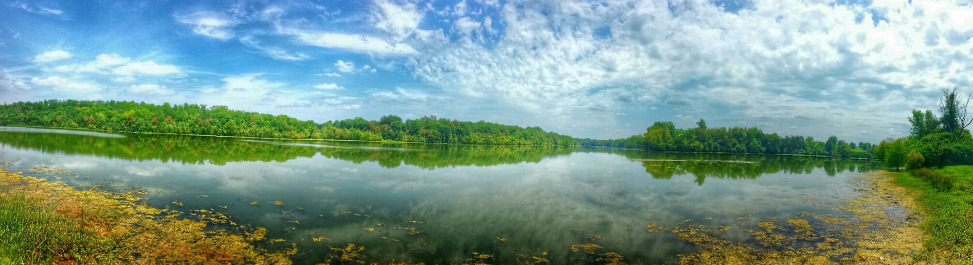Panaramic Lake View Nature Lanscape Sky And Clouds