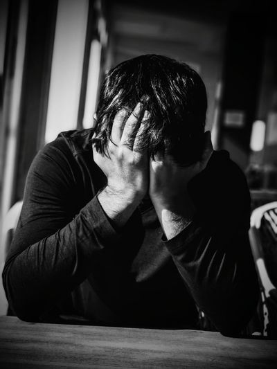 Black and White is a state of mind Relationship Difficulties Men Couple - Relationship Grief Sitting Depression - Sadness Males  Disappointment Hopelessness Guilt
