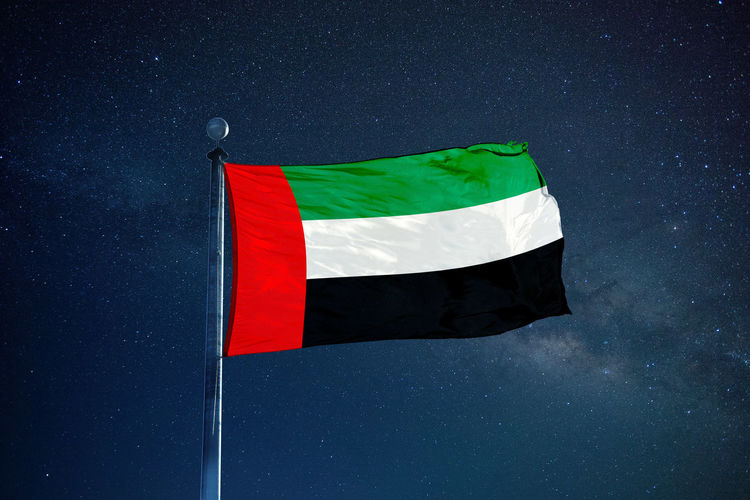 Country Patriotism Emirates Flag Mast Milky Way Night Object Patriots  Pole Sky Symbol
