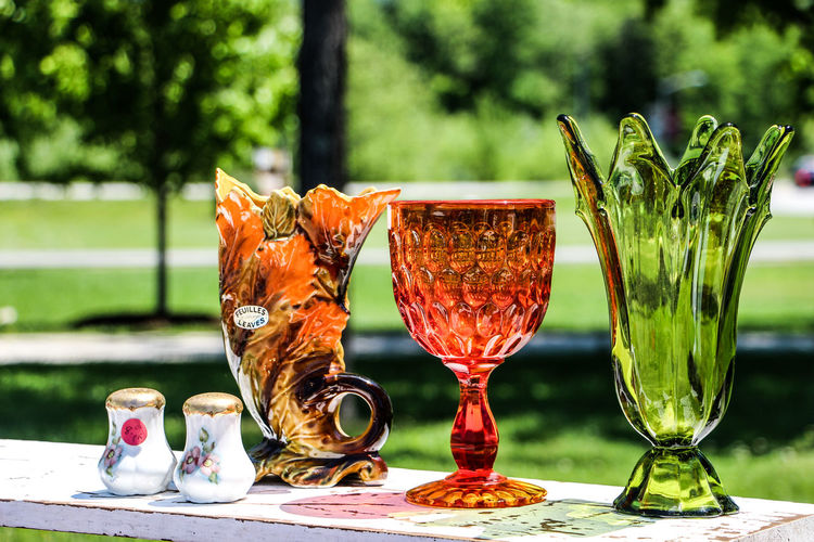 Close-up of glassware on table