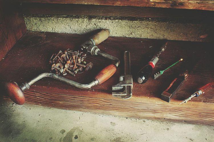 Vintage Tools Garage Workshop Drill Glass Cutter Wrench  Screwdriver Rust Fasteners Vintage Design