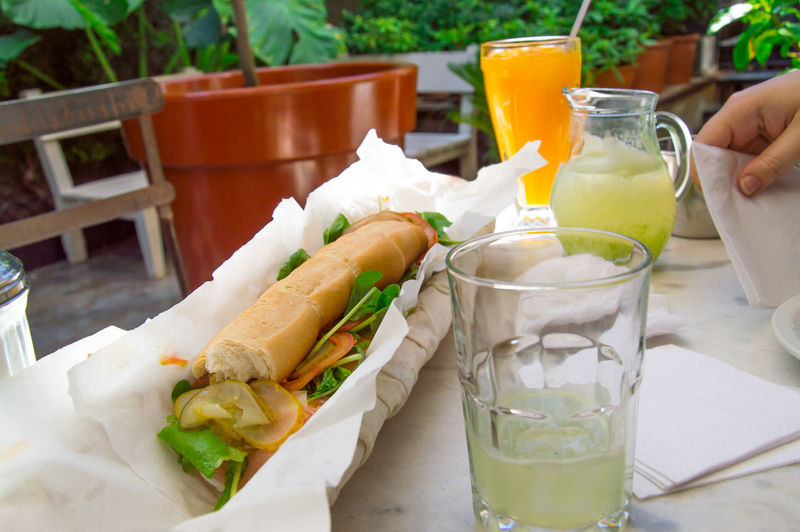 Close-up of fresh lemonade and sandwich served on table at back yard